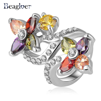 Beagloer Colorful Crystal Flower Rings Jewelry Finger Ring For Women 23*40mm Ri-HQ0274