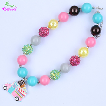 Fine Jewelry 2Pcs/Lot Chunky Bubblegum Beaded Necklace Ice Cream Pendant Necklace With Cartoon Movie Pendant KQNL-410863
