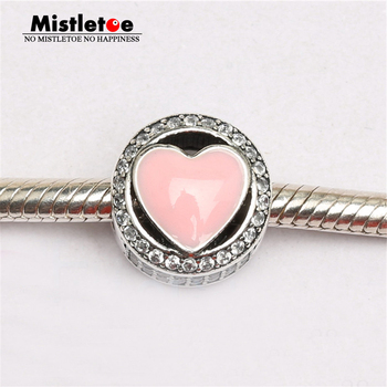 Authentic 925 Sterling Silver Wonderful Love, Soft Pink Enamel & Clear CZ Charm Bead Fit Original Bracelet Jewelry