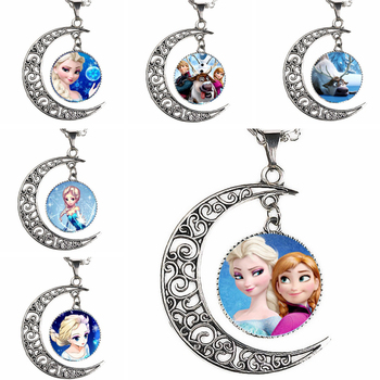 Caxybb brand New arrived Elsa Anna pendant cartoon necklace girl jewelry moon necklaces necklace women girls gift for children