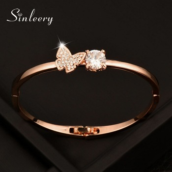 SINLEERY Trendy AAA Cubic Zircon Butterfly Bangles &Bracelet Cuff For Women Rose &White Gold Color Jewelry Accessories Sl401