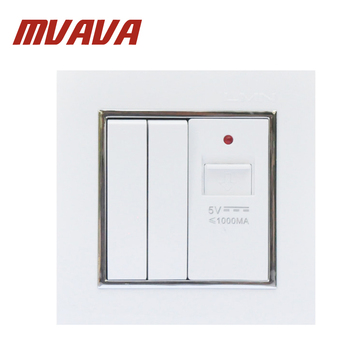 MVAVA Universal 2 Gang Switch 1-Port USB Plug Wall Socket 5V USB Electrical Charger Power Sockets Adapter Outlet