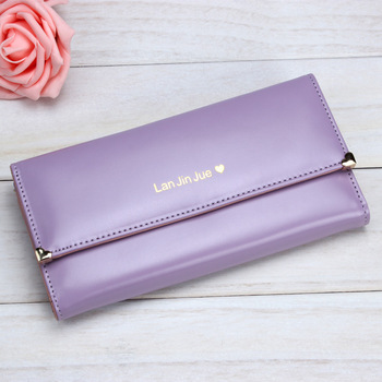 2017 Women Fashion Long Wallet Female Three Fold Design Pu Leather Purse Women Phone Bag Large Capacity Clutch