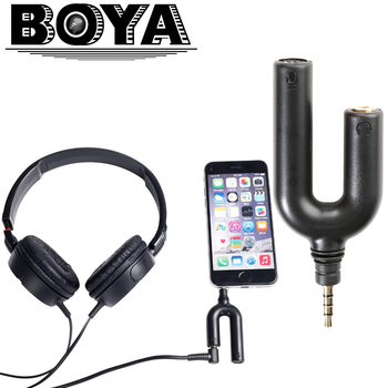Boya by-aum3 3-position ile 3.5mm trrs mikrofon 3.5mm kulaklık splitter adaptörü iphone 7 6 için 6 s 5 5 s 4 4 s ipad ipod dokunmatik