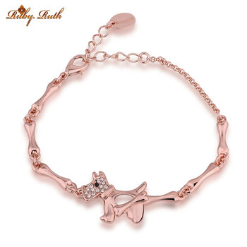 2017  Luxury Fashion Cartoon doll Bracelet Women's Jewelry  Rose Gold Color Austrian Crystals Bracelets & bangles