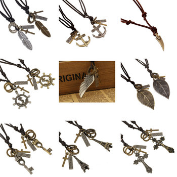 Vintage Genuine Leather Men Necklace Male Anchor Pendant Jewelry Chain For Men Collar Long Leather Cord Necklace YK5018